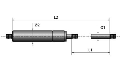 Gevind i begge ender - Nedjusterbar kraft -Teknisk tegning