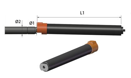 Teknisk tegning - Gasfjedre Sikkerhedsrør - Sort