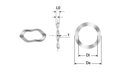 Teknisk tegning - 3 bølgede fjederskiver