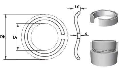Teknisk tegning - Bølgefjedre i rund tråd - Rustfri